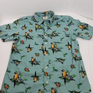 VANS SHORT SLEEVED PARROT GALORE  BUTTON DOWN